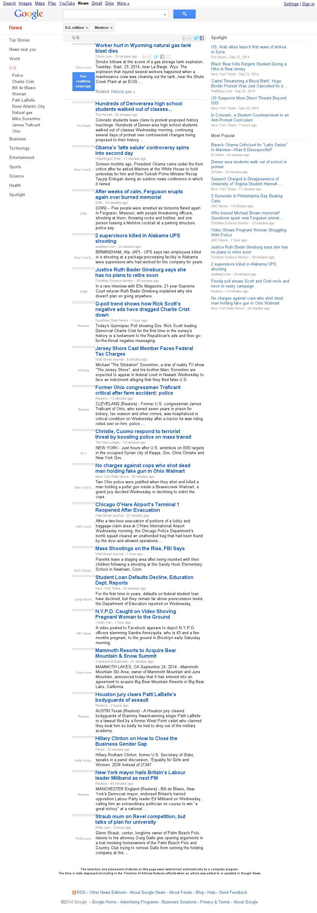 Google News: U.S. at Wednesday Sept. 24, 2014, 6:06 p.m. UTC