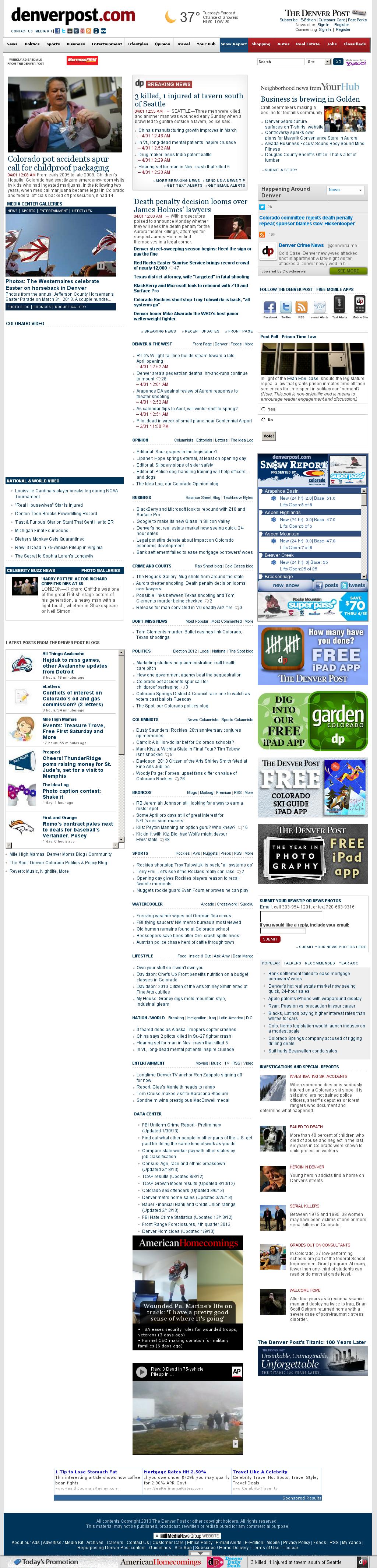 Denver Post at Monday April 1, 2013, 8:05 a.m. UTC