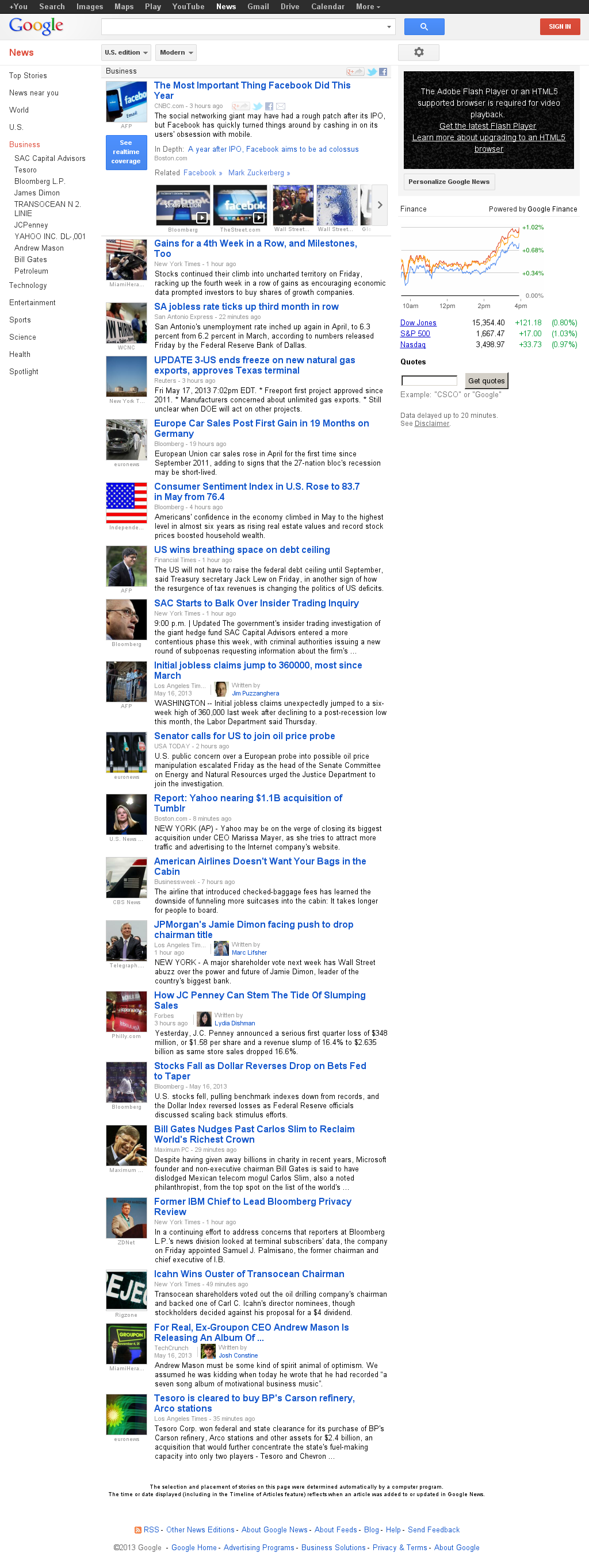 Google News: Business at Saturday May 18, 2013, 2:09 a.m. UTC