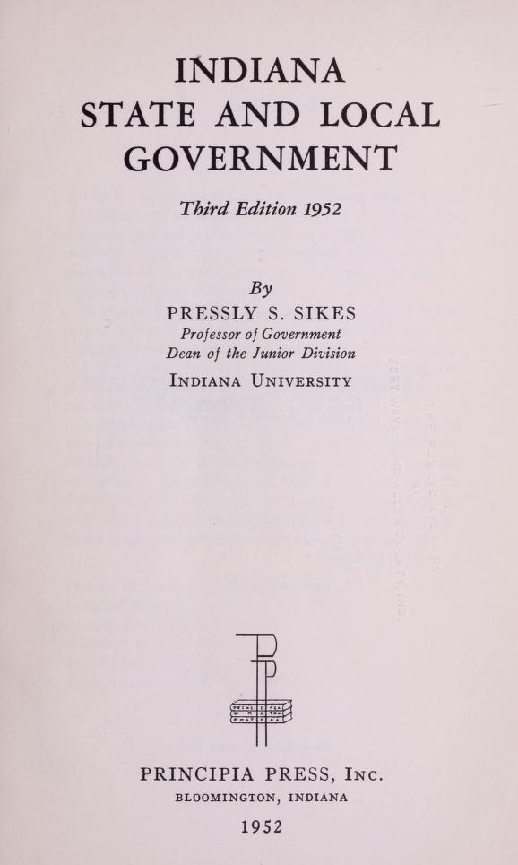 Indiana state and local government by Pressly Spinks Sikes